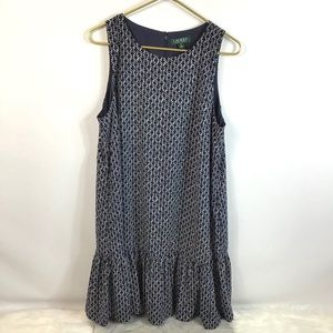 LAUREN RALPH LAUREN Sleeveless Blue White Dress 16